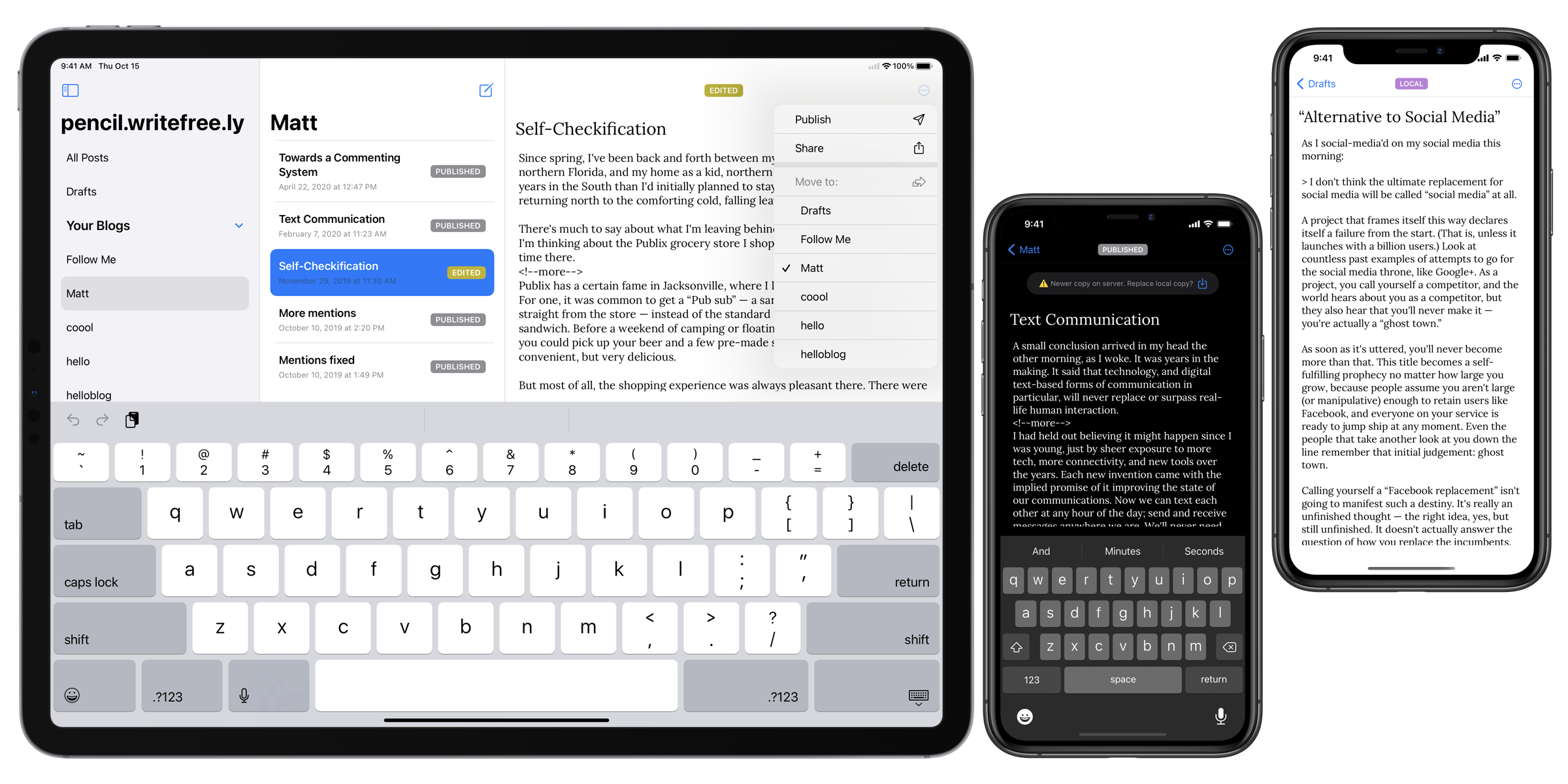 A trio of iOS devices running the WriteFreely iOS app